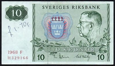 1968 Sweden 10 Kronor Banknote * H 329166 * Vf * P-52 *