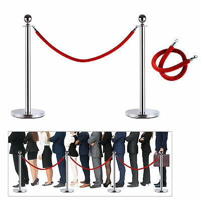 Stainless Steel Line Post Barrier Crowd Control Retractable Secure w/Belt 2pcs