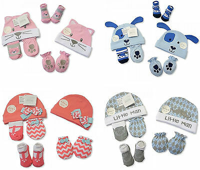 Baby Hat Socks Mittens Gift Set 3Pc Boys Girls Bnwt