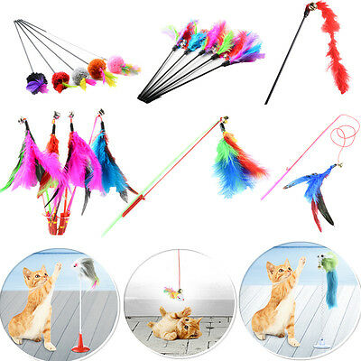 Kitten Pet Cat Teaser Turkey Feather Interactive Fun Toy Wire Chaser Wand + Bell