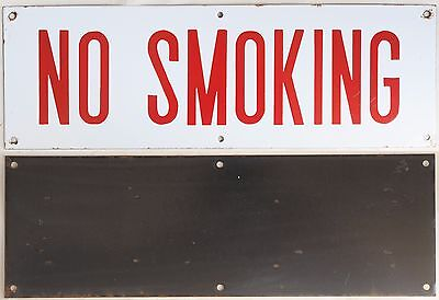 Old large red enamel steel sign building factory plaque plate NO SMOKING 1960s