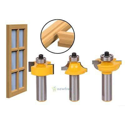 3Pcs Door Trimming Plank Wood Working Tool Curboard Cutter Router Bits 1/2 Shank