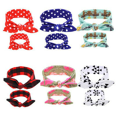 2pcs/set Mom Baby Rabbit Ears Bow Headband Hair Hoop Stretch Knot Bow Headbands