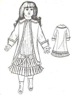 "Period DOLL DRESS fits 18 -19 "" PATTERN Victorian German French"