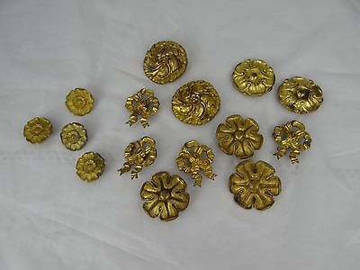 Romantic Antique French Gilt Bronze Rosette Picture Hook Covers-Large Lot 15 pcs