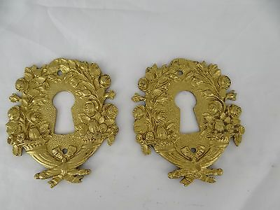 Antique French A Pair of Bronze Escutcheon, Key Hole Cover, Empire Style 19 th