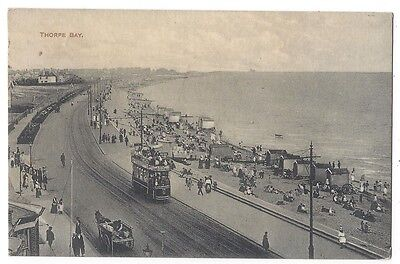 THORPE BAY Essex, Animated Scene Tram, Horse and Cart, Old Postcard Posted 1923