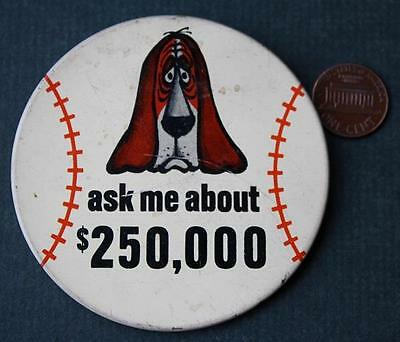 CUTE 1960s Era Hush Puppies Shoes Jason the Basset Hound baseball contest button