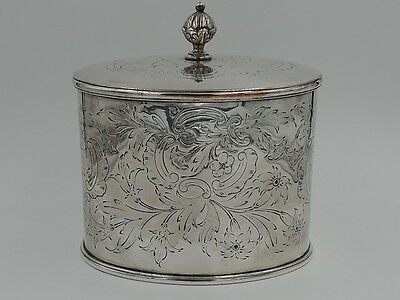 Vintage English Silverplate Oval Shape Tea Caddy Box Silver Plate