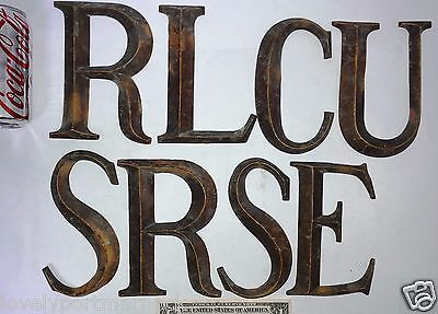 8 large antique Letters Bronze Font sign decorative CURSES RULES CLUES CRUEL 2