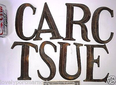 8 large antique Letters Bronze Font sign decorative CACTUS STAR ART RACE TEA 1
