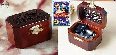 VINTAGE  OCTAGON WOODEN MUSIC BOX ♫ Anastasia:Once Upon A December ♫