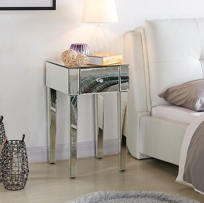 Mirrored Bedside Tables Cabinets Bedroom Clear or Black Mirror Stylish New