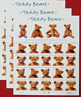 Three Centennial Sheets x 20 = 60 TEDDY BEAR 37¢ US Postage Stamps. Sc 3653-3656