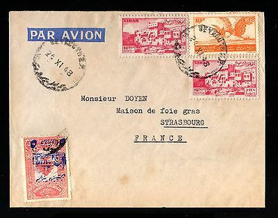 15072-LEBANON-AIRMAIL COVER BEYROUTH to STRASBOURG (france) 1948.WWII.Liban.