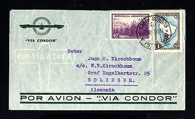 15156-ARGENTINA-AIRMAIL CONDOR COVER BUENOS AIRES to SOLINGEN (germany)1937.WWII