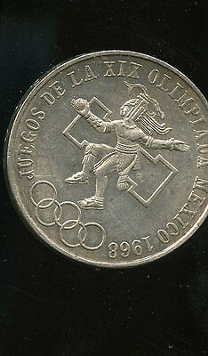 Mexico 1968 Official Olympic Coin 25 Pesos Silver Coin A459