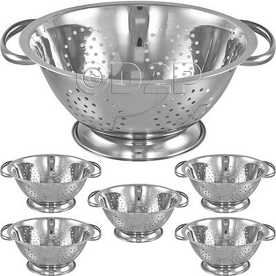 5 X Stainless Steel Colander With 2 Handle Deep Spaghetti Pasta Salad Strainer