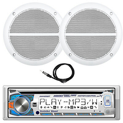 "New Dual Marine Digital Media Receiver with Bluetooth, W/ Pair of 6.5"" Speakers"