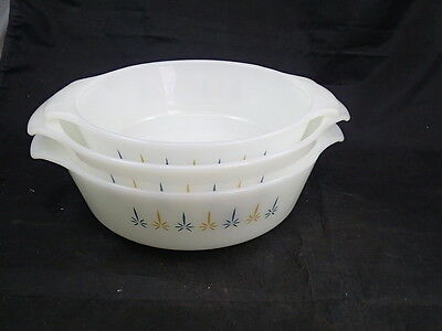 3 pc Anchor Hocking Fire King 437 1.5 436 1 Qrt Casserole Dish Candle Glow MCM