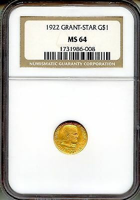 1922 Grant With Star G$1 NGC MS64 ~ Commemorative Gold Dollar (1731986-008)