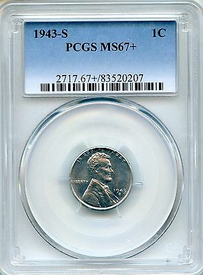 1943-S Lincoln Cent PCGS MS67+ ~ Wartime Steel Cent ~ 1c (83520207)