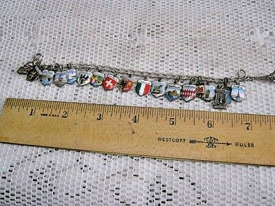 Vintage STERLING Silver Charm Bracelet 20 EUROPE Cities Travel Enamel Charms
