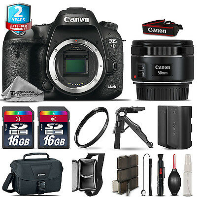 Canon EOS 7D Mark II DSLR Camera + 50mm 1.8 STM + EXT BAT + 32GB + 2yr Warranty