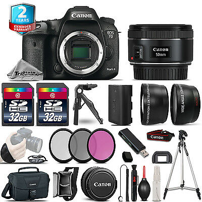 Canon EOS 7D Mark II Camera + 50mm STM -3 Lens Kit +32GB +EXT BATT +2yr Warranty