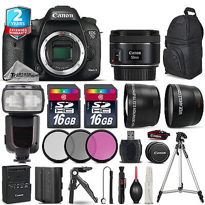Canon EOS 7D Mark II Camera + 50mm 1.8 + Flash +EXT BAT + 2yr Warranty - 2GB Kit