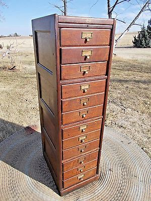 Antique Vintage MACEY 12 Drawer Oak File Cabinet