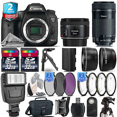 Canon EOS 7D Mark II DSLR Camera + 50mm 1.8 STM + 55-250mm IS STM + 2yr Warranty