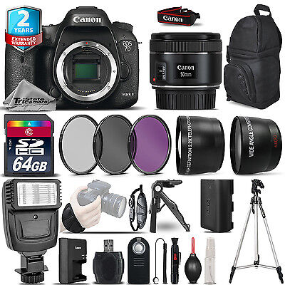 Canon EOS 7D Mark II DSLR Camera + 50mm 1.8 STM  + 2yr Warranty -Ultimate Bundle