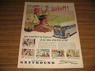 1948 Vintage Ad Greyhound Bus Couple at Football Game Buses