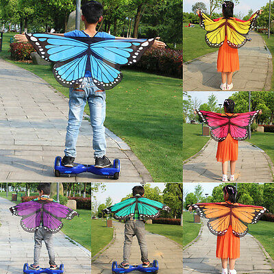 Colorful Butterfly Wing Shawl Cape Fairy Boy Girl Costume Accessory Pretend Play