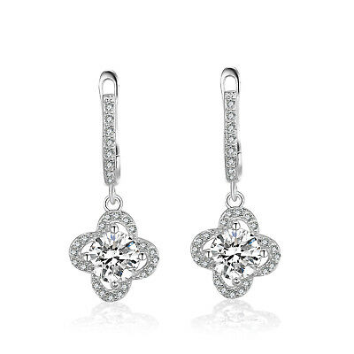JewelryPalace Flower 2.34ct Cubic Zirconia Dangle Earrings 925 Sterling Silver