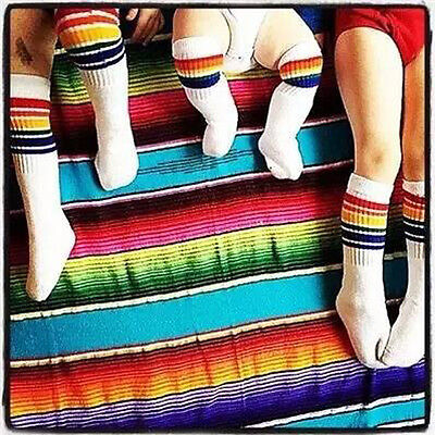 Kids Baby Girls Boy Rainbow Striped Over Knee High Stockings Cotton Sport Socks