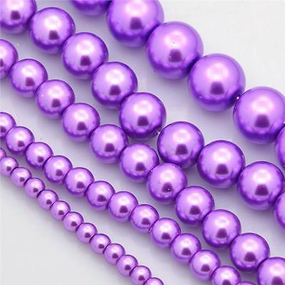 200 TOP QUALITY ORCHID PURPLE MIXED SIZE GLASS PEARL BEADS 4mm 6mm 8mm 10mm 12mm