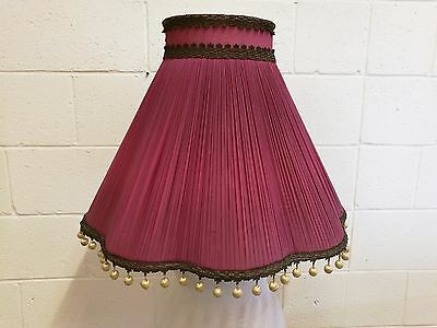 Antique Lampshade for a Standard Lamp.  Rose Silk with Gold Poms Poms. Beautiful