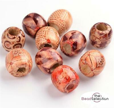20 per bag OVAL WOODEN BOHO MIX LARGE HOLE EUROPEAN BEADS 16mm