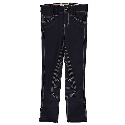 Horseware Kids Girls Denim Breeches Horse Riding Jodhpurs Trousers Bottoms