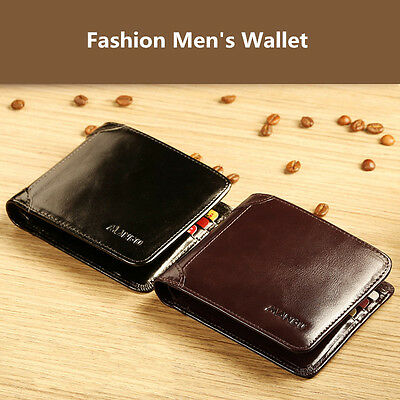 Stylish Men's Soft Leather Bifold Wallet with Card Holder Coin Pocket Purse Bag