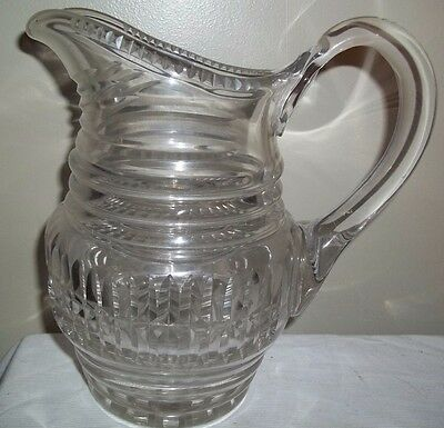 Antique Heavy Crystal Glass Water Milk Lemonade Pitcher Numbered