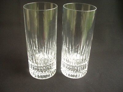 Pair Of Tall Cut Glass Drinking Glasses ~Elegant & Stylish Design