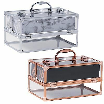 Beautify Large Acrylic Vanity Make Up Beauty Box Cosmetics Storage Lockable Case