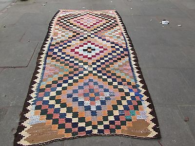 Old Traditional Hand Made Persian Oriental Kilim Rug Wool Blue Pink 285x135cm