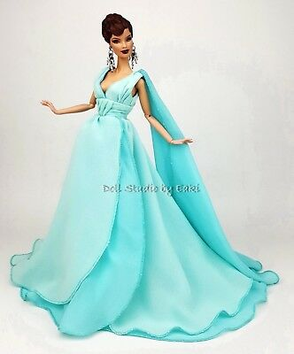 Blue Chiffon Ball Gown Evening Dress Outfit Barbie Silkstone Fashion Royalty FR