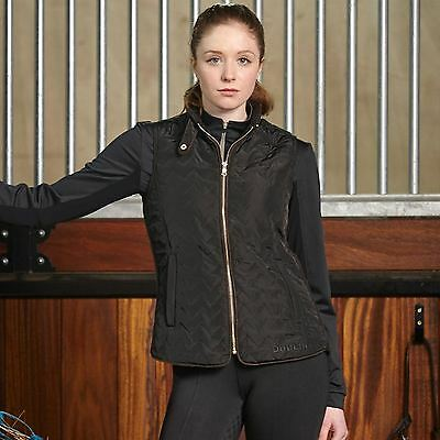 Dublin Womens Khloe Vest Quilted Rib Panels Sleeveless Equestrian Full Zip Top