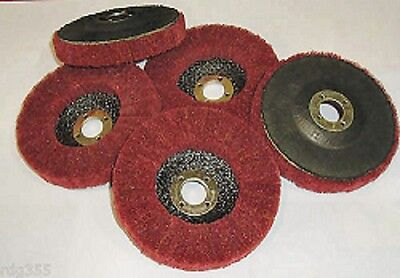 "Rdgtools 5 X 4"" Red Scotch Brite Metal Flap Disc Polishing Finishing Abrasive"