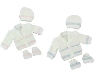 Prem Baby Cardigans Early Baby Reborn Doll Boy Girl White Pink Blue 3-5LB 5-8LB